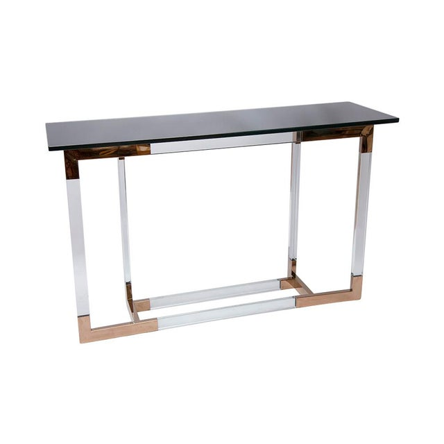 Lucite and Brass Console Table by Charles Hollis Jones For Sale - Image 5 of 8