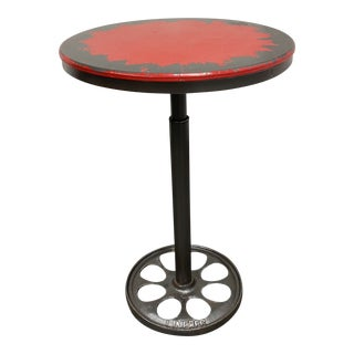 Anthropologie Industrial Style Red + Steel Bar Bistro Table For Sale