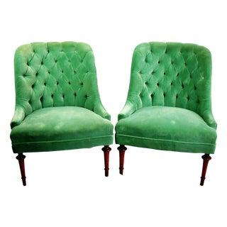 Vintage Tufted Velvet Slipper Chairs - A Pair