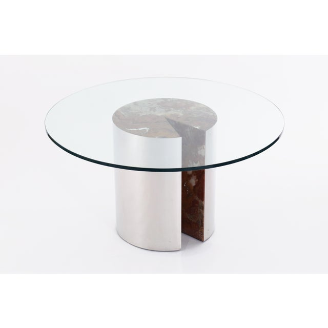 1970s Vintage Mid Century Leon Rosen for Pace Collection Chrome, Onyx and Glass Dining Table For Sale - Image 5 of 5