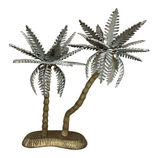 Brass Palm Tree Candleholder For Sale