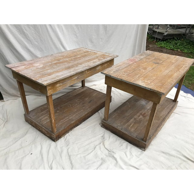 Pair of antique southern work tables C 1900-1920. This pair of pine work tables came from a small workshop in Perry Co...
