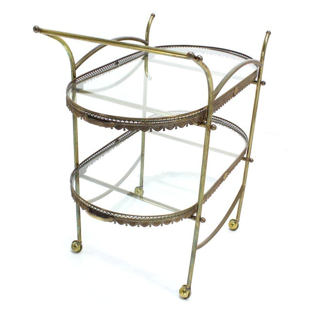 Brass Two-Tier Brass Serving Cart Table with Removable Trays For Sale - Image 7 of 10