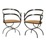 Image of Mid Century Custom Forged Steel Curved Back Armchairs - a Pair For Sale