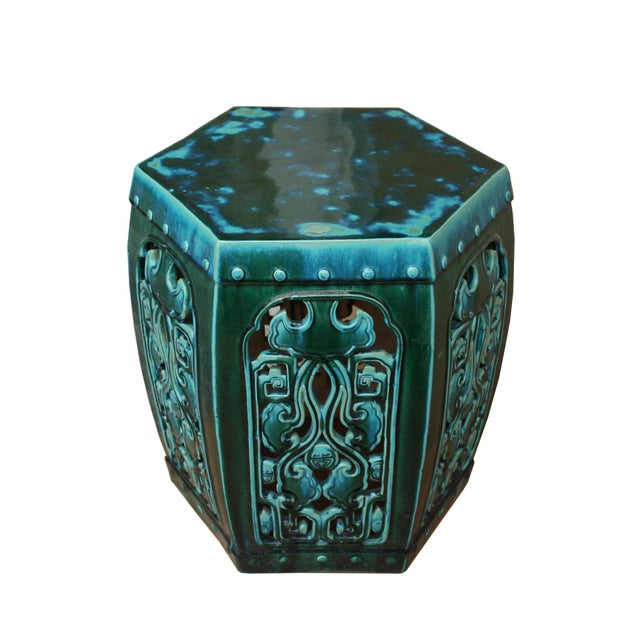 2010s Ceramic Clay Green Turquoise Glaze Hexagon Motif Garden Stool Table For Sale - Image 5 of 7