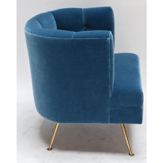 Metal 1960s Italian Lounge Chairs in Blue Mohair-A Pair For Sale - Image 7 of 9