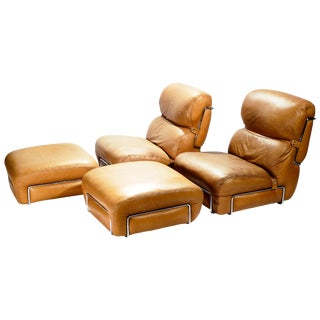 Pair of Leather Armchairs With Ottomans Gianfranco Frattini, 1970s For Sale