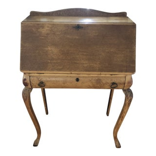 French Provincial Birdseye Maple Secretary Desk For Sale