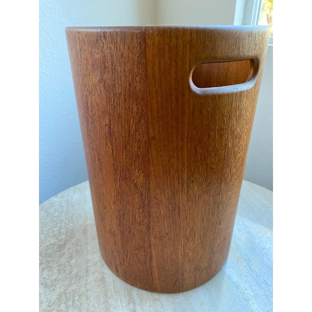 Wood Danish Mid Century Modern Teak Wastebasket For Sale - Image 7 of 9