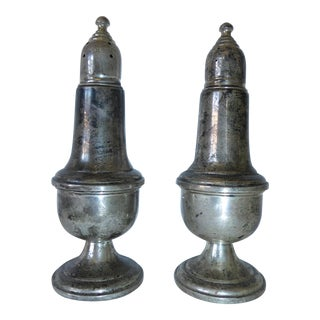 Antique Empire Sterling Silver Weighted Salt & Pepper Shakers - a Pair For Sale