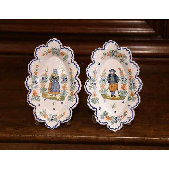 Late 19th Century Pair of 19th Century French Faience Oval Wall Plates Signed Henriot Quimper For Sale - Image 5 of 11