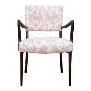 Danish Mid-Century Mexican-Inspired Otomi Textile Accent Chair For Sale