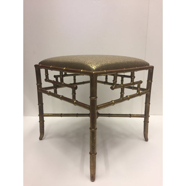 Metal 1960s Vintage Gilt Iron Faux Bamboo Ottoman Bench For Sale - Image 7 of 10