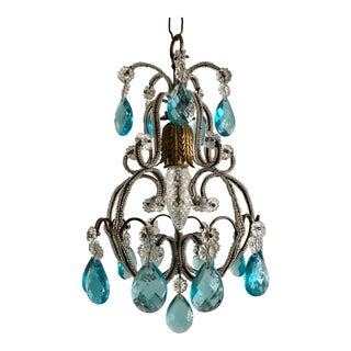 Italian Crystal Beaded Chandelier For Sale