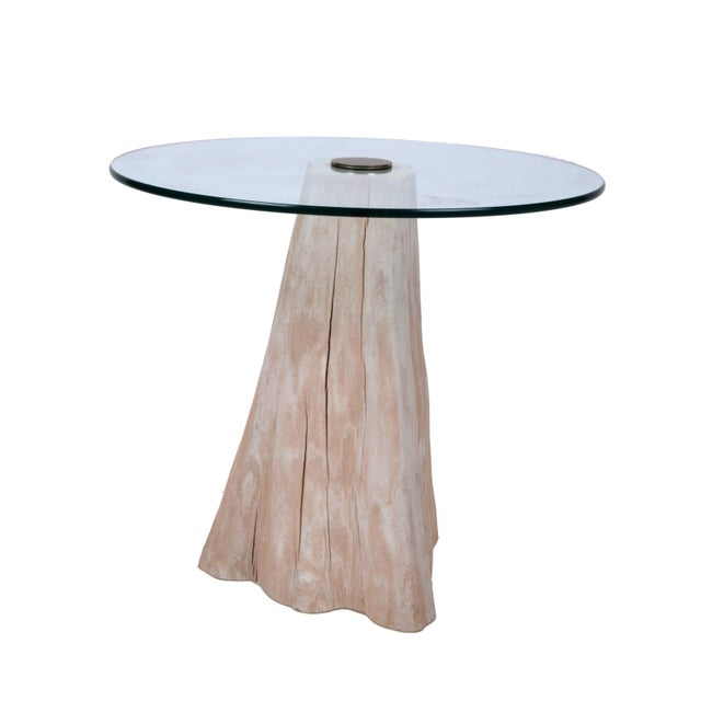 Glass Round Mid-Century Modern Tree Stump Glass Side Table For Sale - Image 7 of 8