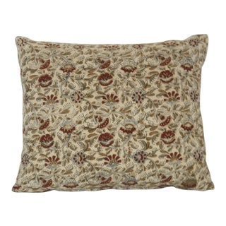 Vintage Meandering Indian Flower Block Print Pillow For Sale