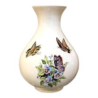 Large Vintage Vase - Butterflies