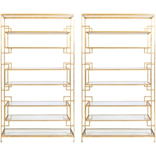 Worlds Away Lamar Gold Leafed with Glass Shelving Etagere Bookcases – A Pair
