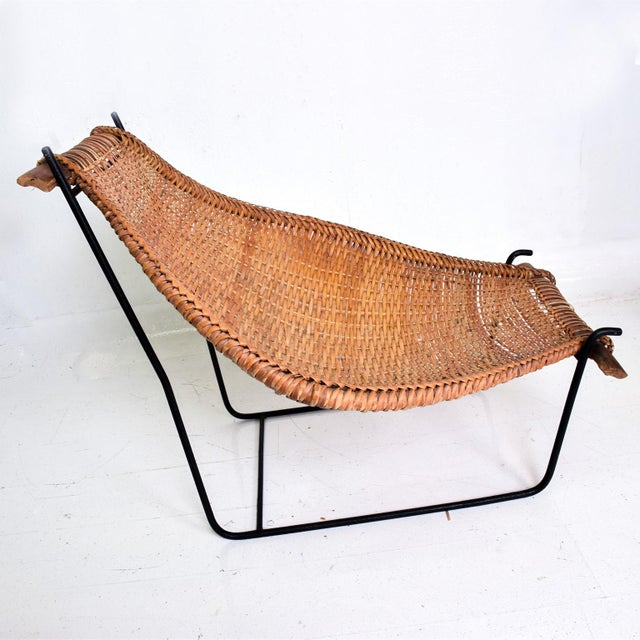 John Risley Wicker & Iron Chair, Mid Century Modern For Sale - Image 10 of 11