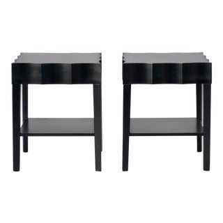 Scalloped Edged Black Side Tables - A Pair