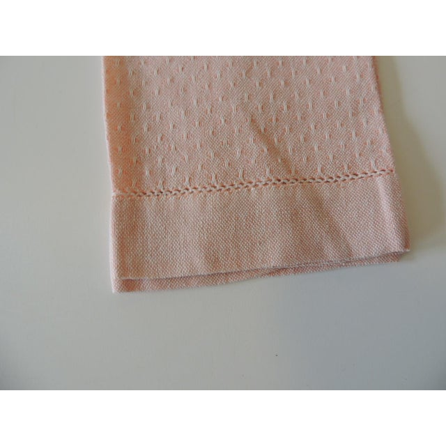 Vintage Pink and White Woven Bathroom Guest Towel. 100% Linen Size: 18 x 13 x 0.03