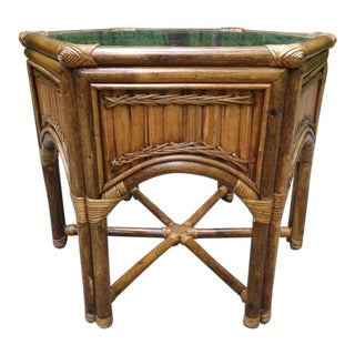 1960's Peacock Chair Bamboo Stick Wicker Split Reed Palm Beach Hex Side Table For Sale