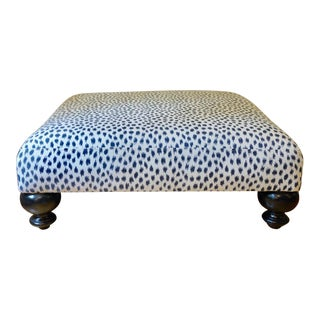 West Elm Sunbrella Agra Indigo Upholstered Ottoman With Black Ball Feet For Sale