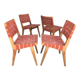 Early S/4 Jens Risom Strap Chairs Knoll For Sale