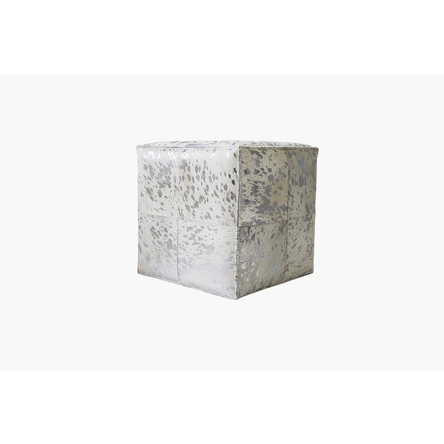 Forest Collection Cowhide Silver Ottoman - Image 3 of 5