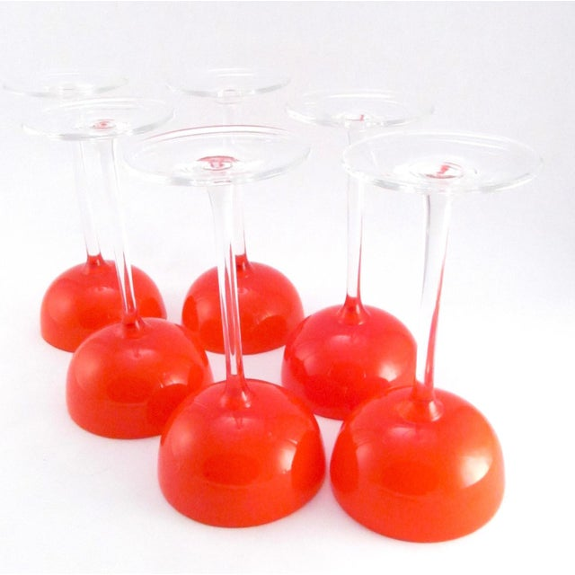 Glass Vintage Hand Blown Orange and White Cased Glass Champagne Stems - Set of 6 For Sale - Image 7 of 9