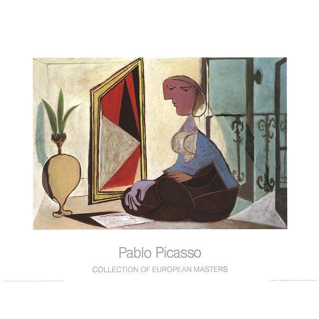 "Cubism Pablo Picasso Femme Au Miroir 27.5"" X 35.5"" Poster 1989 Cubism Multicolor, Brown, Red, Blue Woman, Miror For Sale - Image 3 of 3"