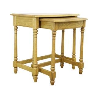Ethan Allen Oak Nesting Side Table For Sale