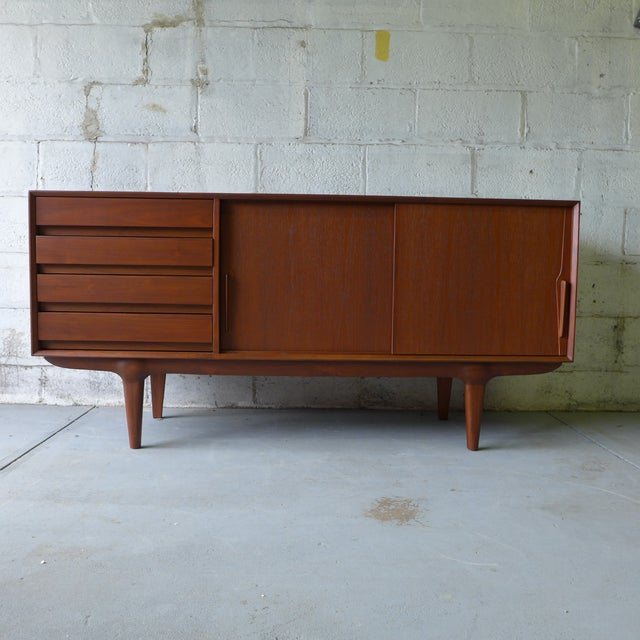 Teak Mid Century Modern CREDENZA media stand For Sale - Image 4 of 10