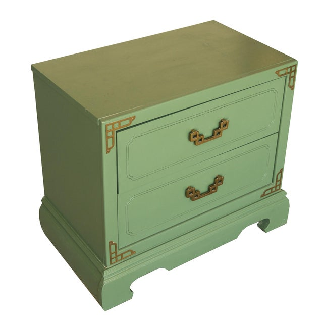 Chinoiserie Campaign Green Nightstands - Pair - Image 4 of 4
