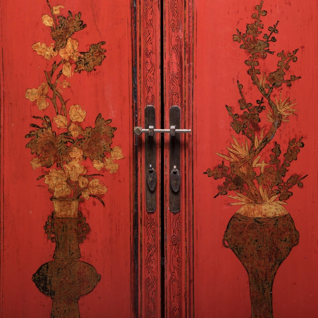 Red 19th Century Chinese Folk Painted Cabinet For Sale - Image 8 of 10