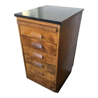 Vintage Wooden File Drawers Cabinet For Sale