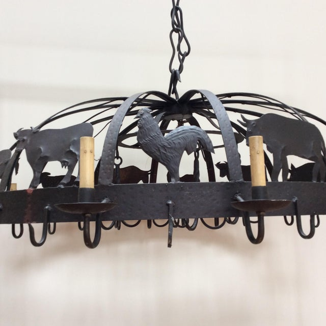 Large Iron Farm Animal Themed Pot Rack Chandelier For Sale - Image 10 of 10