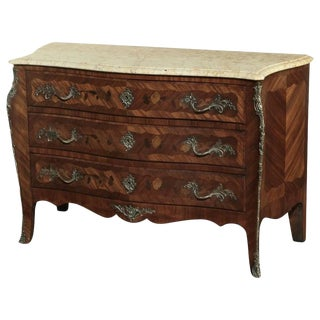 19th Century French Marble Top Serpentine Commode For Sale