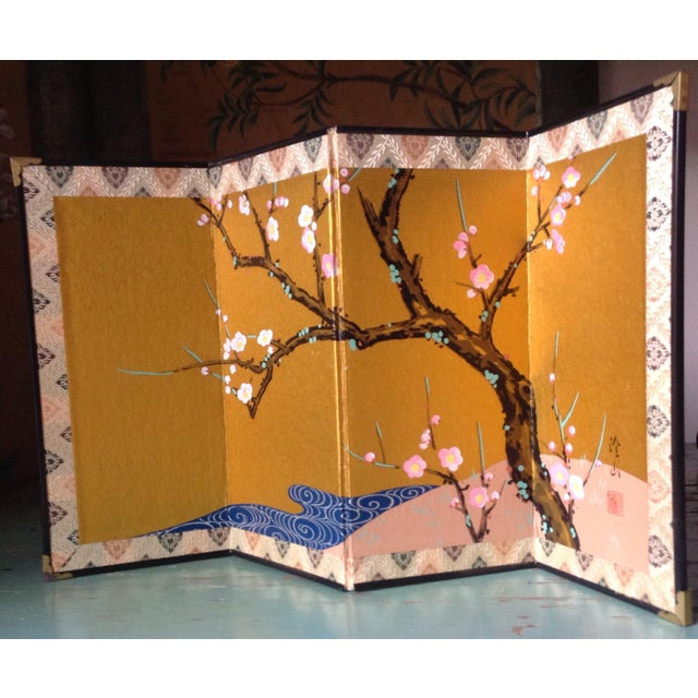 Chinese Cherry Blossoms Hand Painted Screen For Sale - Image 4 of 5