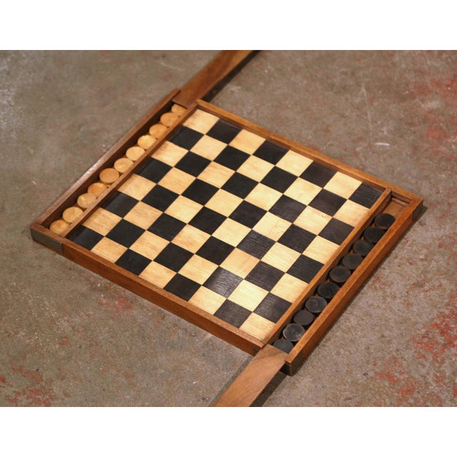 Late 19th Century 19th Century French Walnut Complete Checkers Board Game For Sale - Image 5 of 6