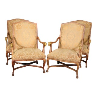 Set 4 French Paint Decorated Gilt Wood Rams Head Armchairs Dining Office Chairs For Sale