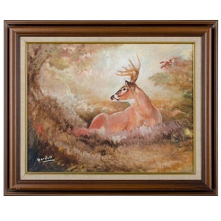 Vintage Resting Deer Oil Painting on Canvas