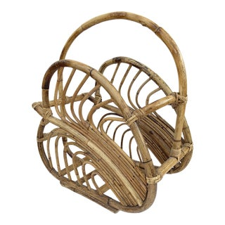 1960s Boho Chic Bamboo Rattan Palm Leaf Magazine Holder For Sale