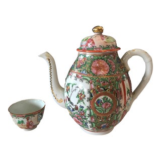 19th Rose Medallion Tea pot and Cup