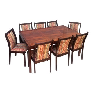 Scandinavian Modern Rosewood Dining Room Set with 8 Chairs For Sale
