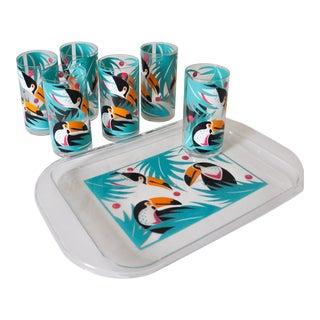 Flamingo Tray & Tumblers - Set of 7