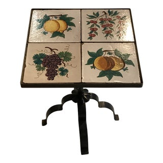 1950s Italian Wrought Iron FruitTile Table For Sale