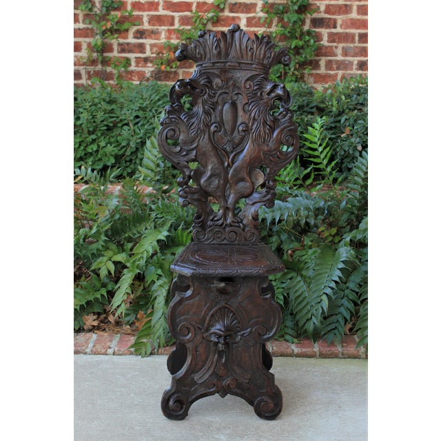 Mid 19th Century Antique Italian Carved Walnut Sgabello Chair For Sale - Image 12 of 13