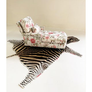 Chaise Lounge in Schumacher Fabric With Zebra Rug For Sale