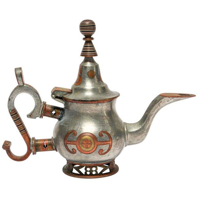 Mid-20th century Tuareg teapot from Mauritania, Africa, Western Sahara. Handcrafted of pewter, copper and brass...